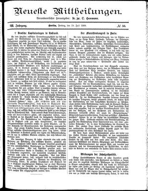 Neueste Mittheilungen on Jul 19, 1889