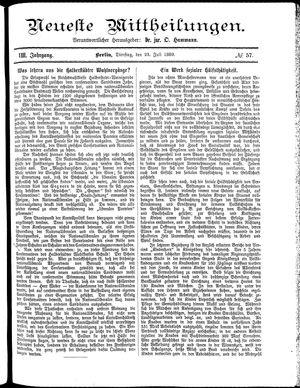 Neueste Mittheilungen vom 23.07.1889