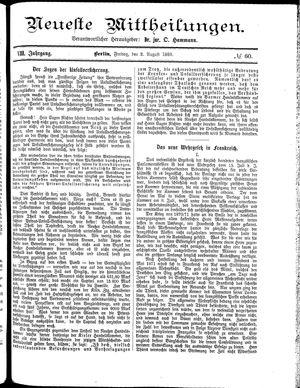 Neueste Mittheilungen vom 02.08.1889