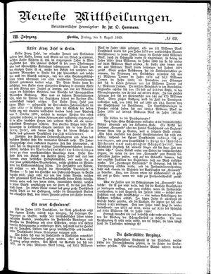 Neueste Mittheilungen vom 09.08.1889