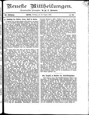 Neueste Mittheilungen vom 13.08.1889
