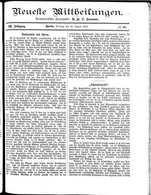 Neueste Mittheilungen vom 20.08.1889