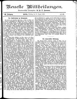 Neueste Mittheilungen vom 27.08.1889