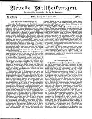 Neueste Mittheilungen vom 07.01.1890