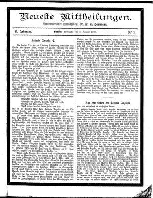Neueste Mittheilungen vom 08.01.1890