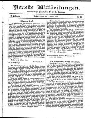 Neueste Mittheilungen vom 07.02.1890