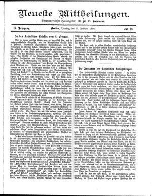 Neueste Mittheilungen vom 11.02.1890