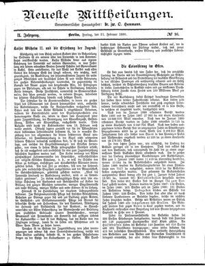 Neueste Mittheilungen vom 21.02.1890