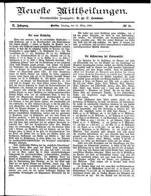 Neueste Mittheilungen vom 11.03.1890