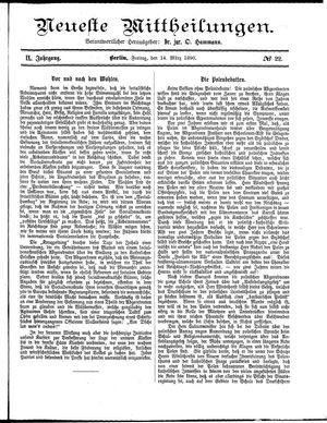 Neueste Mittheilungen vom 14.03.1890