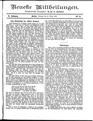Neueste Mittheilungen vom 25.03.1890