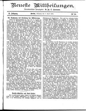 Neueste Mittheilungen vom 09.04.1890