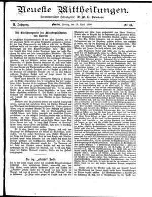 Neueste Mittheilungen vom 18.04.1890