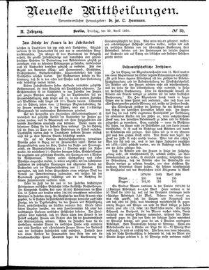 Neueste Mittheilungen vom 22.04.1890