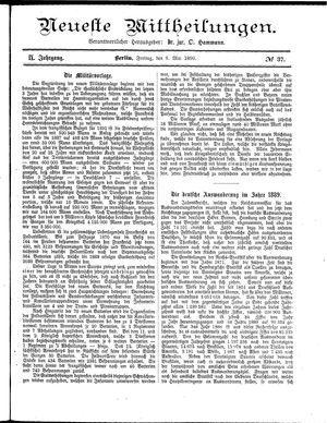 Neueste Mittheilungen vom 09.05.1890