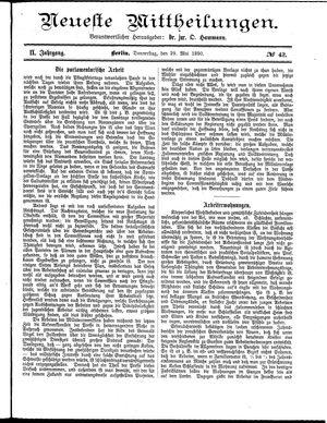 Neueste Mittheilungen vom 29.05.1890