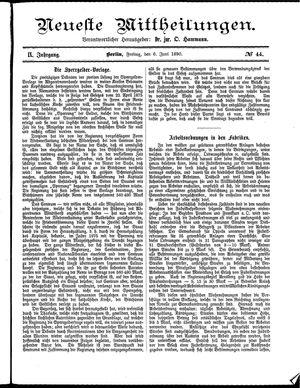 Neueste Mittheilungen vom 06.06.1890