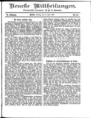 Neueste Mittheilungen vom 10.06.1890