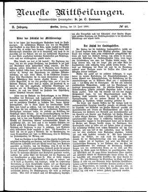 Neueste Mittheilungen vom 13.06.1890