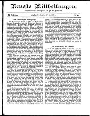 Neueste Mittheilungen vom 17.06.1890