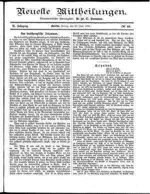 Neueste Mittheilungen vom 20.06.1890