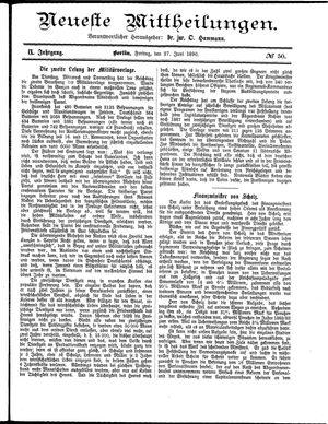Neueste Mittheilungen vom 27.06.1890