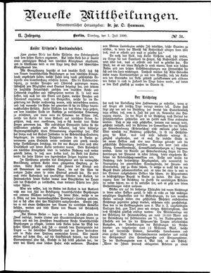 Neueste Mittheilungen vom 01.07.1890