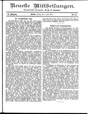 Neueste Mittheilungen vom 04.07.1890