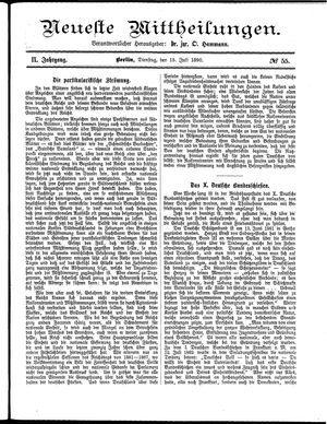 Neueste Mittheilungen vom 15.07.1890