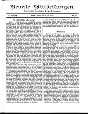 Neueste Mittheilungen vom 18.07.1890