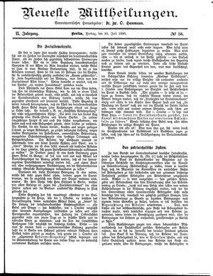 Neueste Mittheilungen vom 25.07.1890