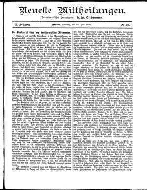 Neueste Mittheilungen vom 29.07.1890