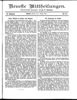 Neueste Mittheilungen vom 01.08.1890