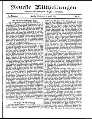 Neueste Mittheilungen vom 05.08.1890