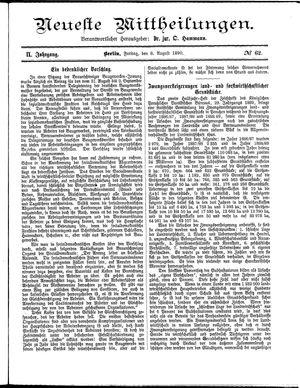 Neueste Mittheilungen vom 08.08.1890