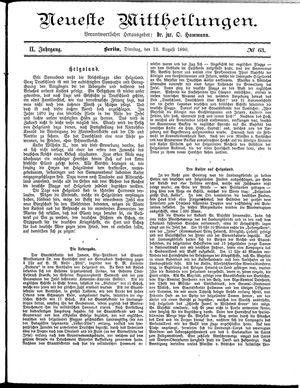 Neueste Mittheilungen vom 12.08.1890