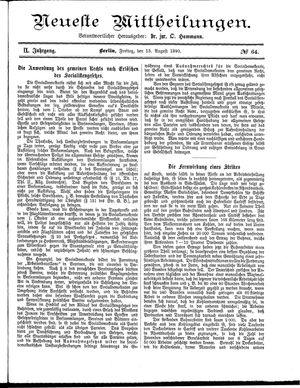 Neueste Mittheilungen vom 15.08.1890