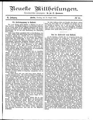 Neueste Mittheilungen vom 19.08.1890