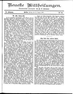 Neueste Mittheilungen vom 22.08.1890