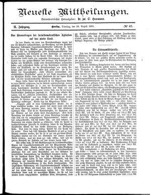 Neueste Mittheilungen vom 26.08.1890
