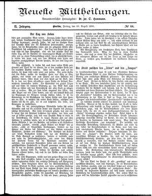 Neueste Mittheilungen vom 29.08.1890