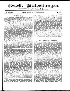 Neueste Mittheilungen vom 16.09.1890