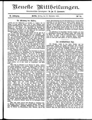 Neueste Mittheilungen vom 19.09.1890