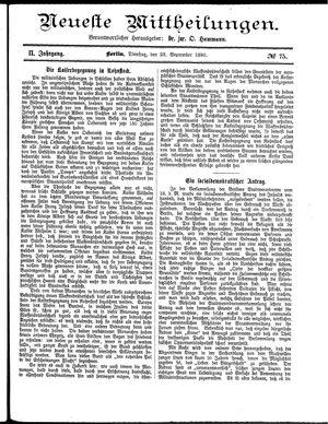 Neueste Mittheilungen vom 23.09.1890