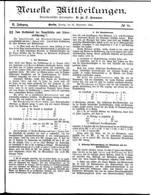 Neueste Mittheilungen vom 26.09.1890