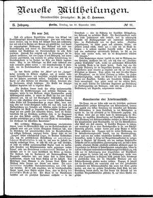 Neueste Mittheilungen vom 30.09.1890