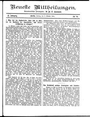 Neueste Mittheilungen vom 03.10.1890