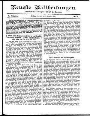Neueste Mittheilungen vom 07.10.1890
