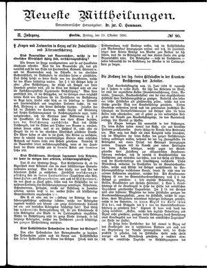 Neueste Mittheilungen vom 10.10.1890