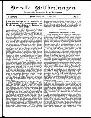 Neueste Mittheilungen vom 14.10.1890